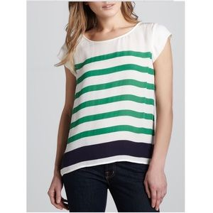 Joie Terry Green and Navy Striped Ivory Silk Top L